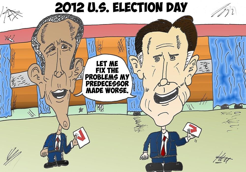 Obama Romney political cartoon by Binary-Options