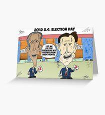 Obama Romney political cartoon Greeting Card