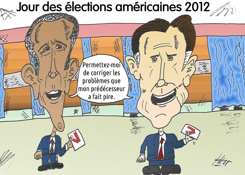OBAMA et ROMNEY en caricature politique by Binary-Options