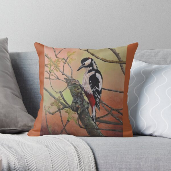 Great-spotted Woodpecker Throw Pillow
