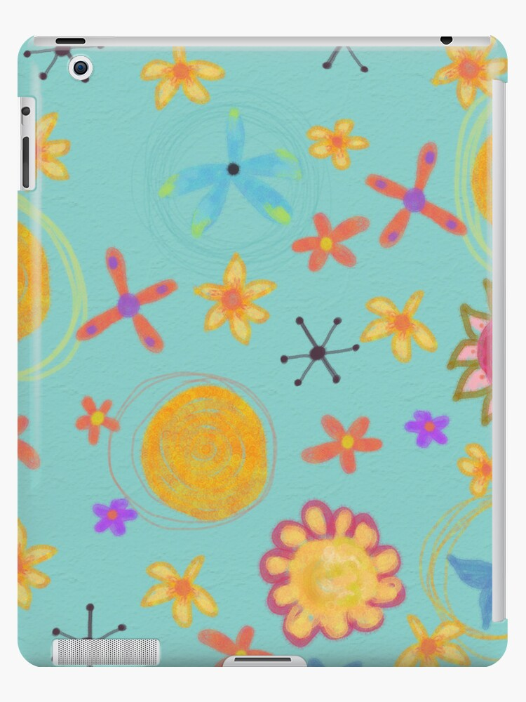 Turquoise With Yellow Flowers, Floral Art iPad Case by CheriesArt
