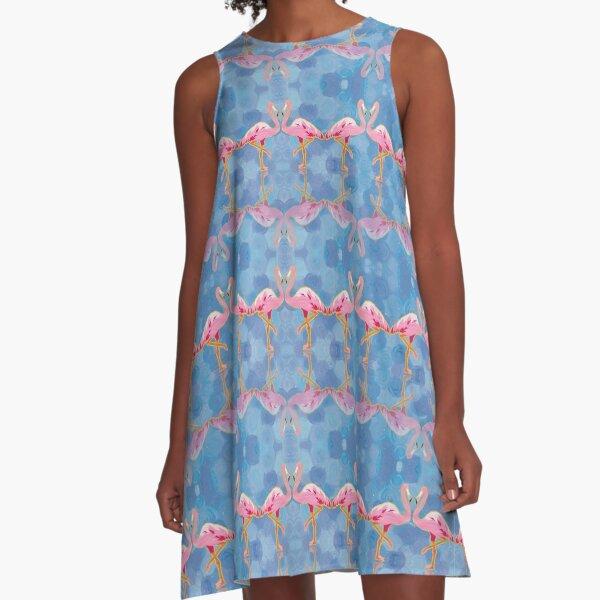 Flamingo on Blue A-Line Dress