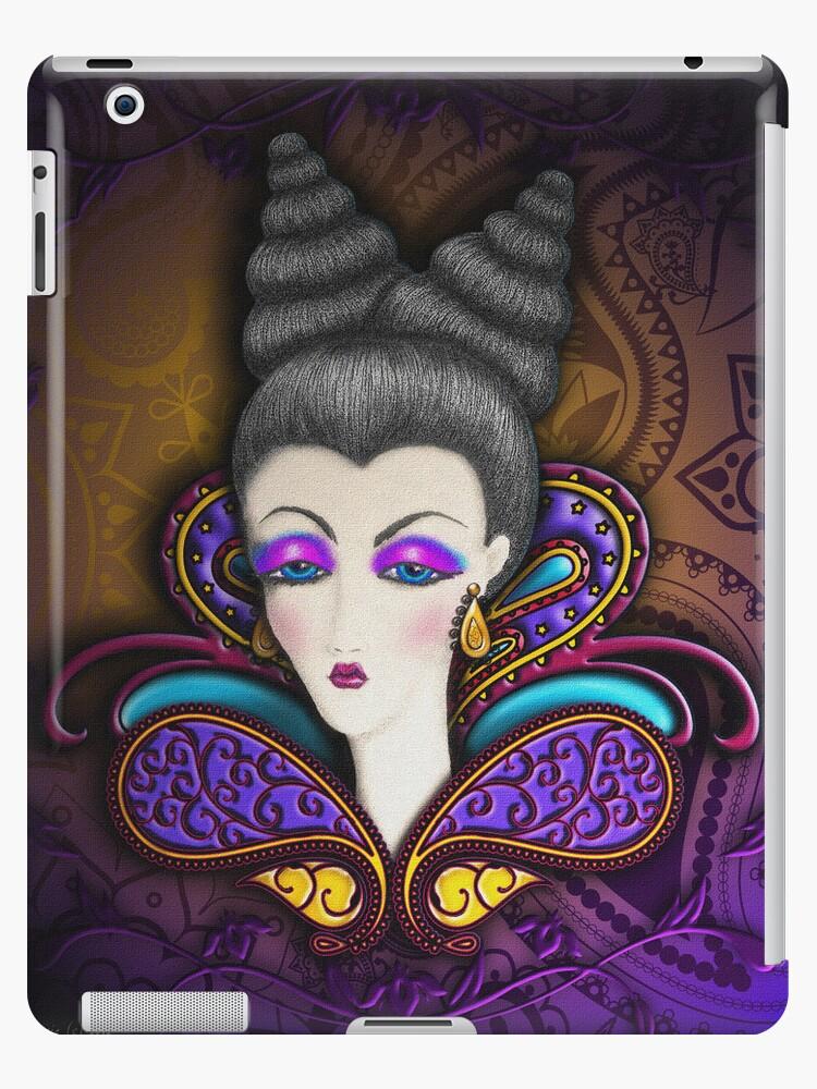 Paisley Queen Textured Look iPad Case by CheriesArt