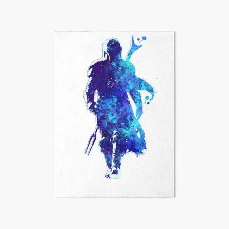 MANDO Silhouette Blue Paint Spatter  Art Board Print