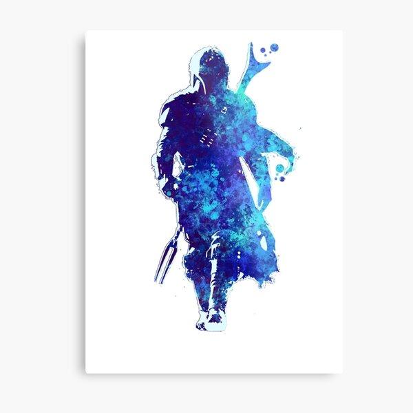 MANDO Silhouette Blue Paint Spatter  Metal Print