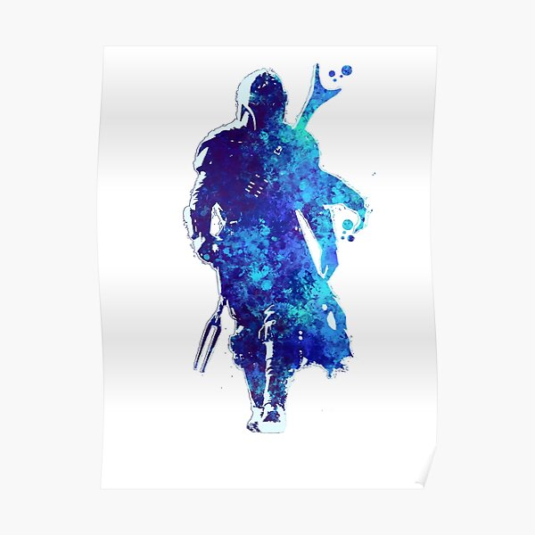 MANDO Silhouette Blue Paint Spatter  Poster