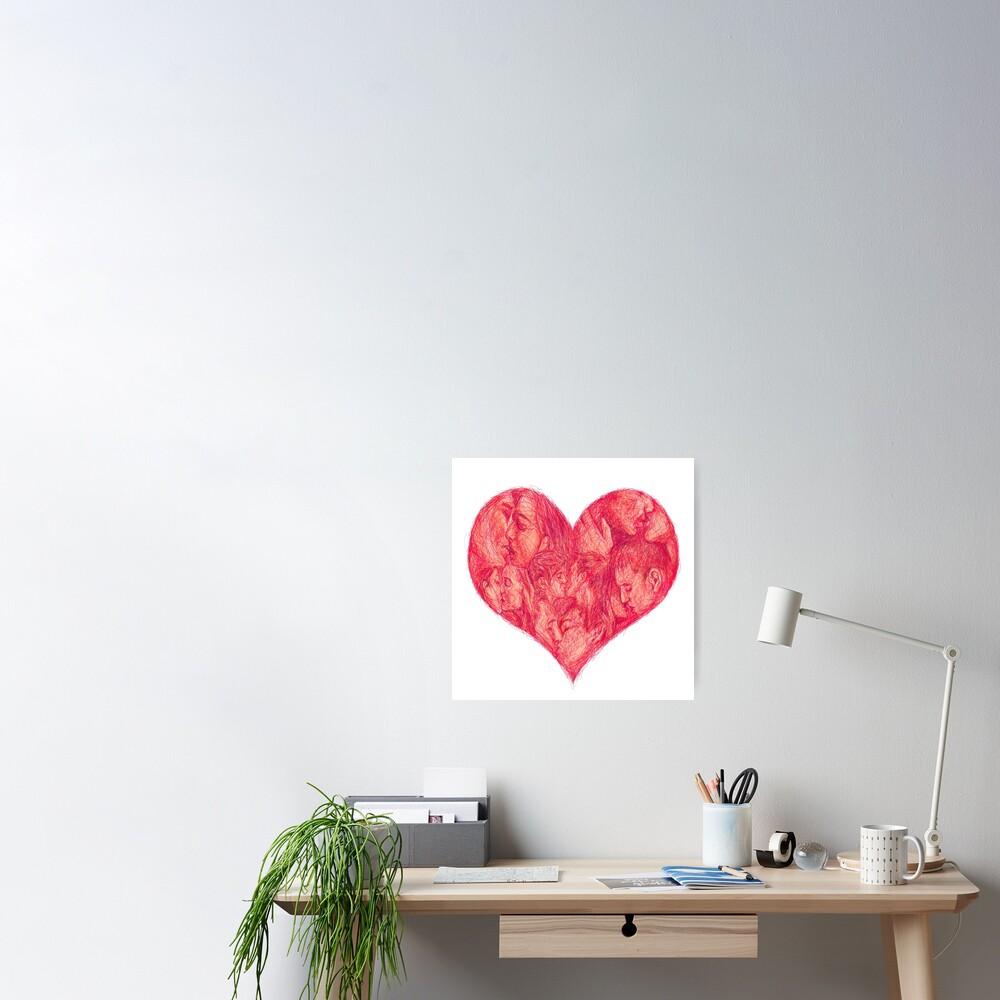 Kiss (White Background) Poster