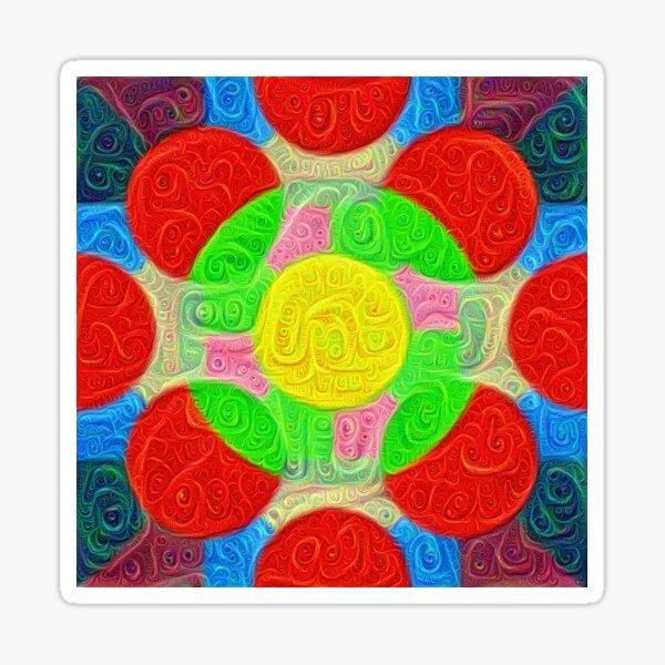 #DeepDream Color Squares Circles Visual Areas 5x5K v1448218386 Sticker