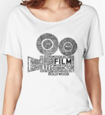 Film Camera Typography - Black Women's Relaxed Fit T-Shirt