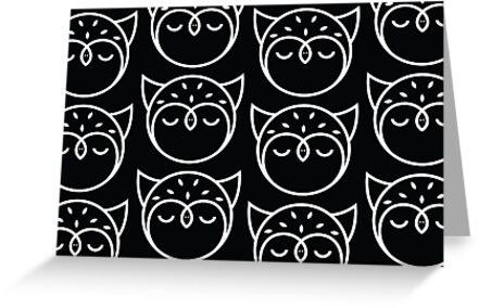Black and White Owl Pattern by Mariya Olshevska