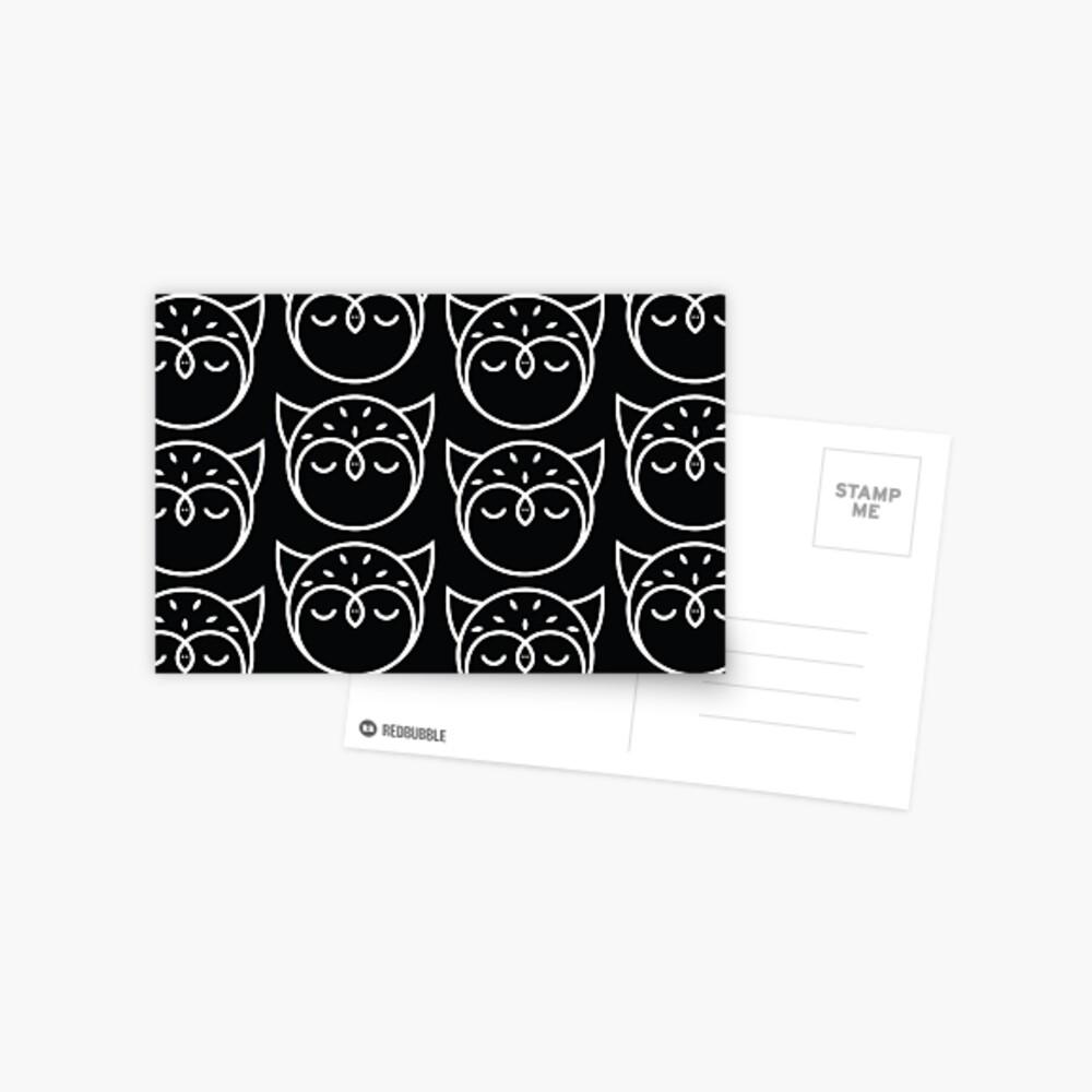 Black and White Owl Pattern Postcard