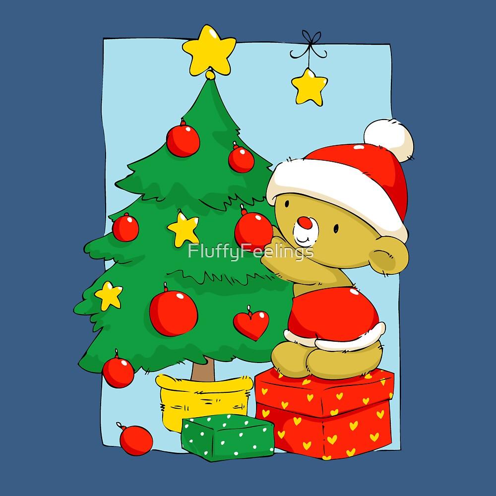 Christmas Bear decorating Christmas tree by FluffyFeelings