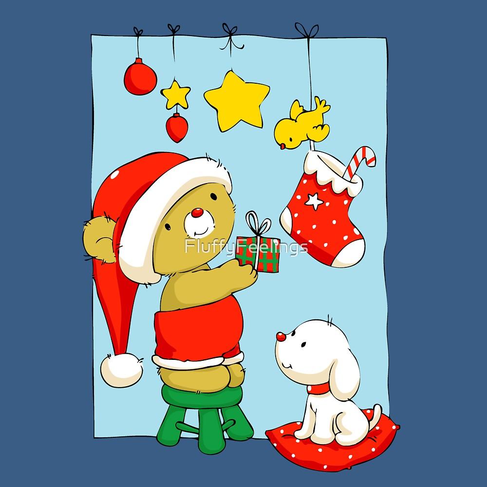 Christmas Bear doing Christmas decorations by FluffyFeelings