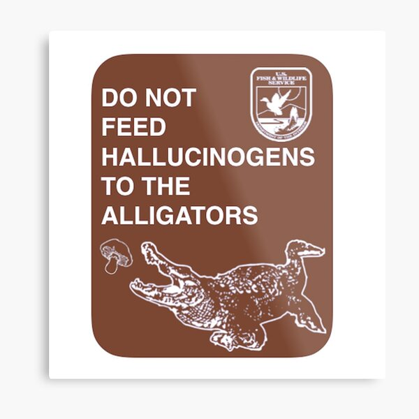 Do Not Feed Hallucinogens To The Alligators (Large) Metal Print