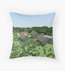 The Village - Minecraft Landscape Throw Pillow