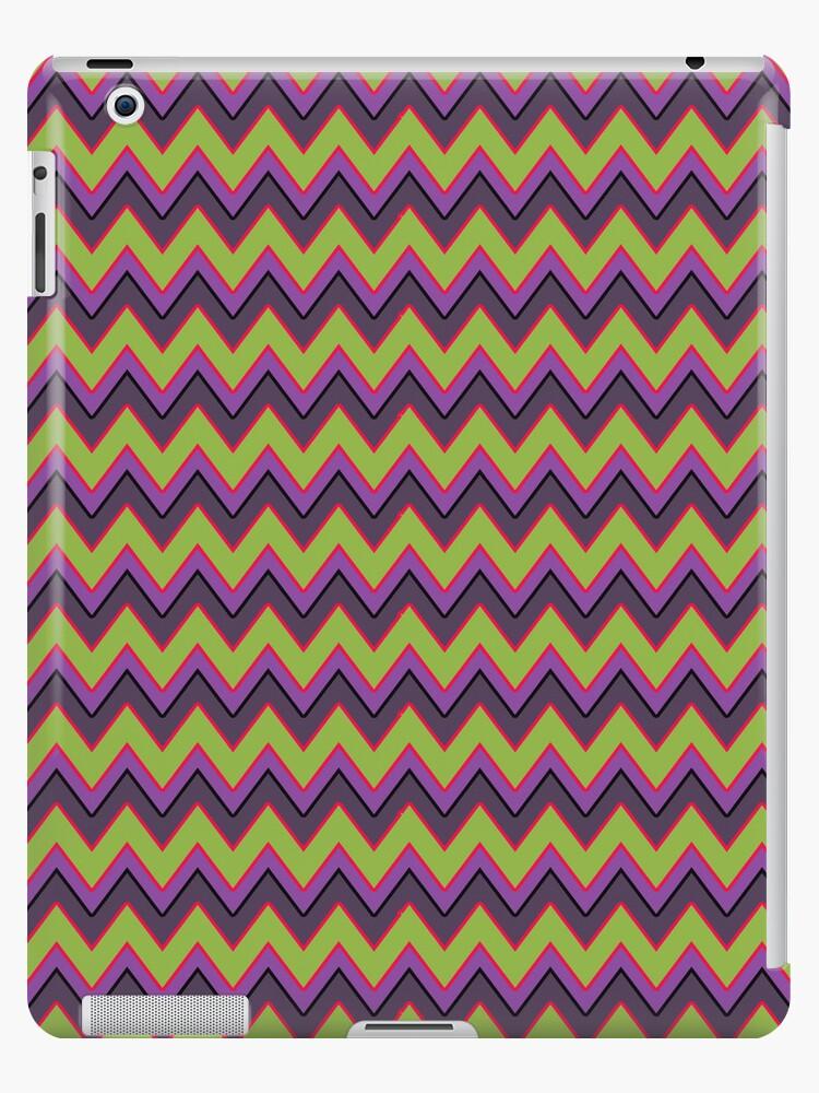 Peridot, Purple and Gray Chevron Stripes iPad Case by CheriesArt