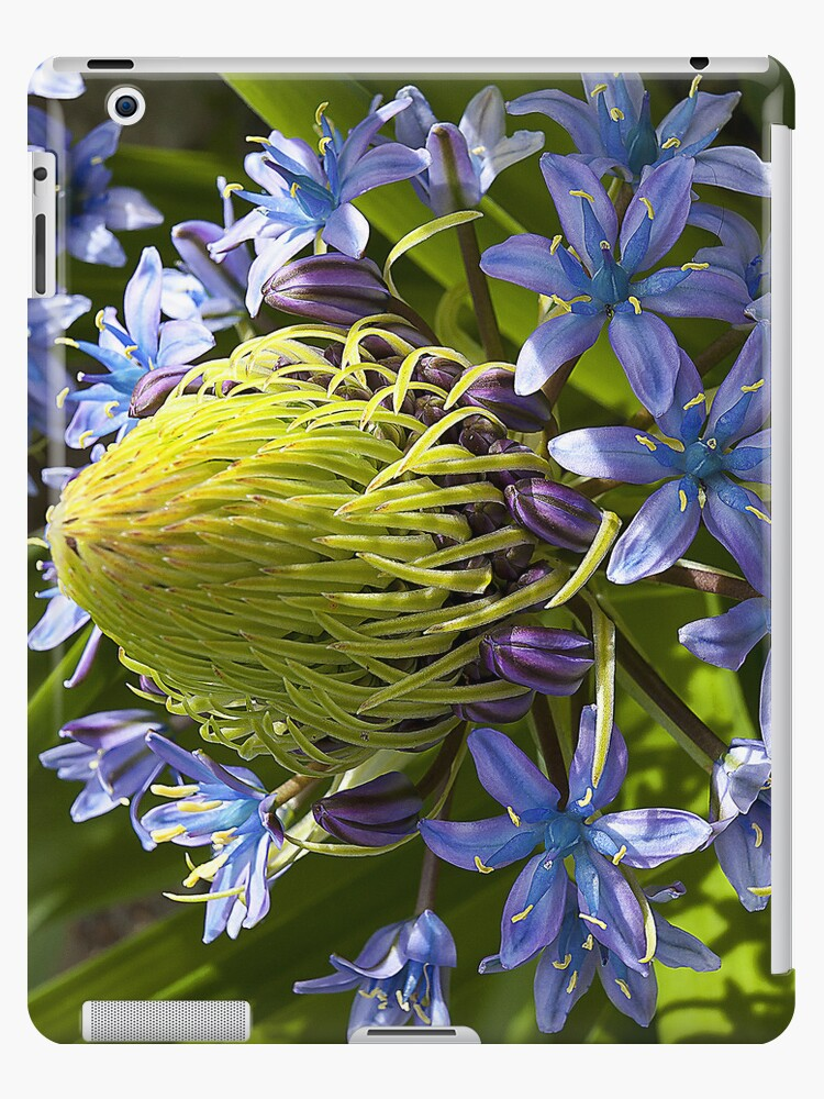 Green and Blue Flower iPad Case by ManateesDesign