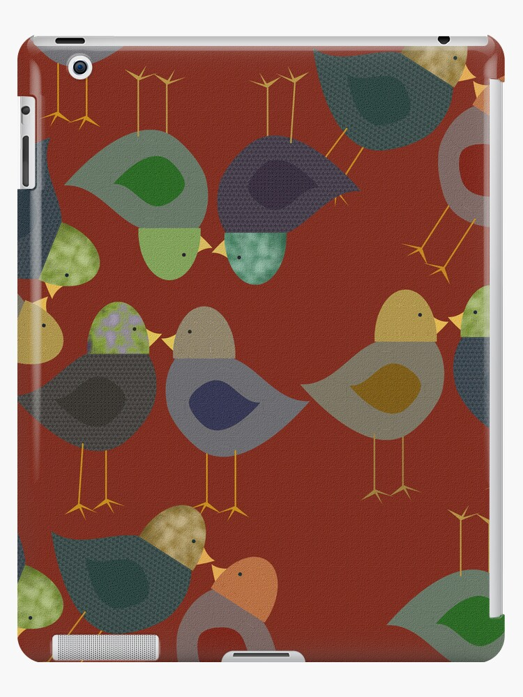 Red Textured Whimsical Birds iPad Case by CheriesArt