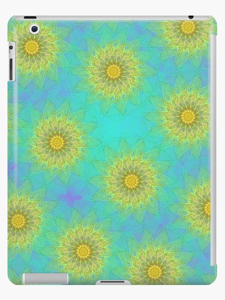 Yellow Kaleidoscope Flowers iPad Case by CheriesArt