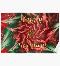 Fractal Poinsettia Holiday Card Poster