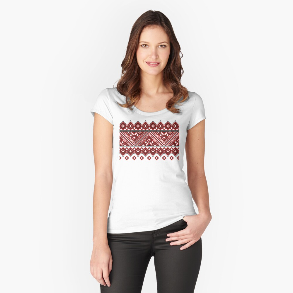 #Ukrainian #Embroidery, #CrossStitch, #Pattern Fitted Scoop T-Shirt