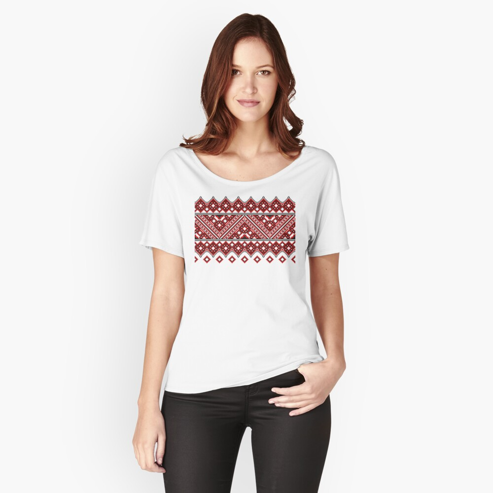 #Ukrainian #Embroidery, #CrossStitch, #Pattern Relaxed Fit T-Shirt