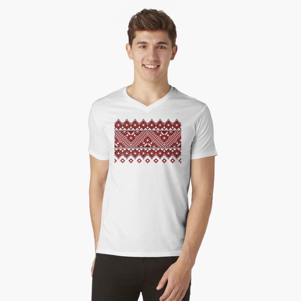 #Ukrainian #Embroidery, #CrossStitch, #Pattern V-Neck T-Shirt