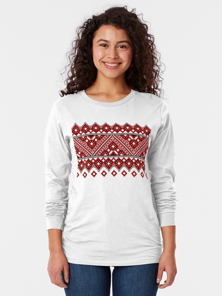 Alternate view of #Ukrainian #Embroidery, #CrossStitch, #Pattern Long Sleeve T-Shirt