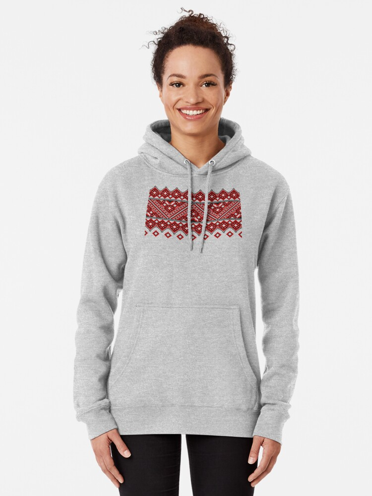 Alternate view of #Ukrainian #Embroidery, #CrossStitch, #Pattern Pullover Hoodie