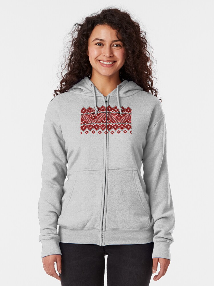 Alternate view of #Ukrainian #Embroidery, #CrossStitch, #Pattern Zipped Hoodie