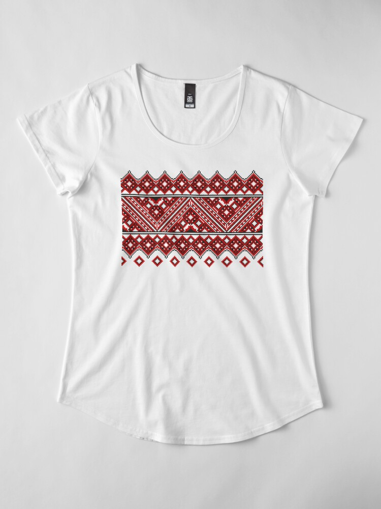 Alternate view of #Ukrainian #Embroidery, #CrossStitch, #Pattern Premium Scoop T-Shirt