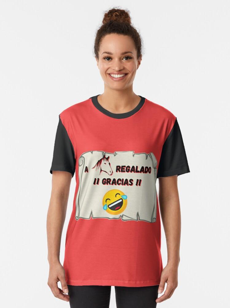 Vista alternativa de Camiseta gráfica A caballo regalado Gracias