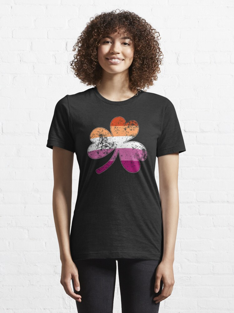 Alternate view of Lesbian Shamrock Pride Flag Essential T-Shirt