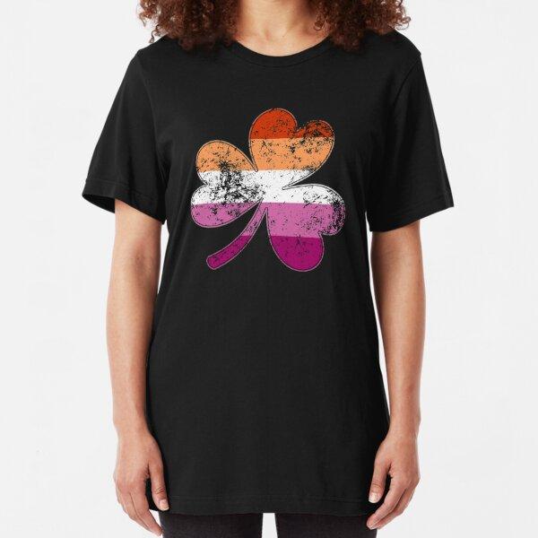 Lesbian Shamrock Pride Flag Slim Fit T-Shirt