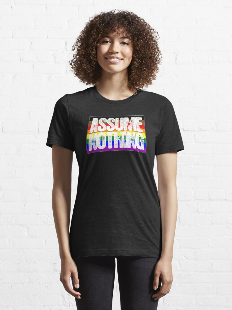 Alternate view of Assume Nothing Philly LGBTQ Gay Pride Flag Essential T-Shirt