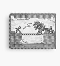 Super Mario Final Koopa Vintage Engraving Metal Print