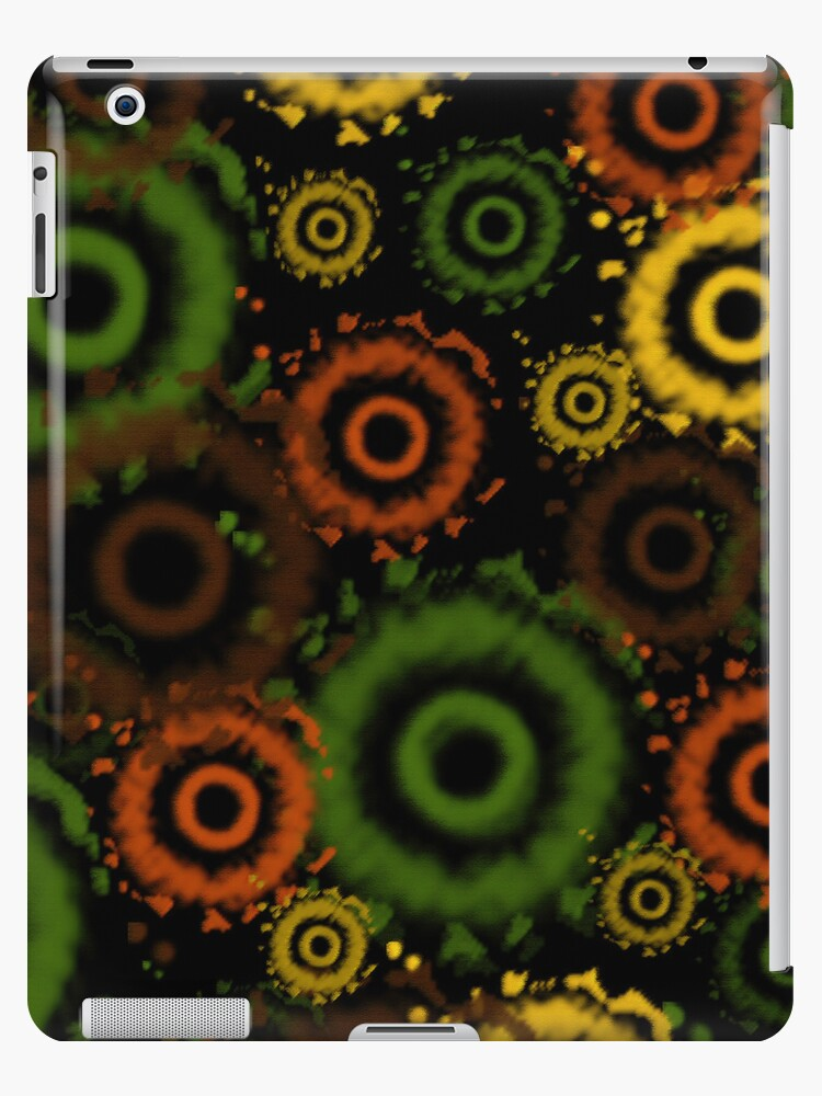 Green, Brown, Golds Tie Dyed Circles iPad Case by Cherie Balowski