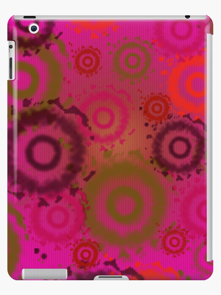 Bright Pink Tie Dyed Circles, iPad Case by CheriesArt