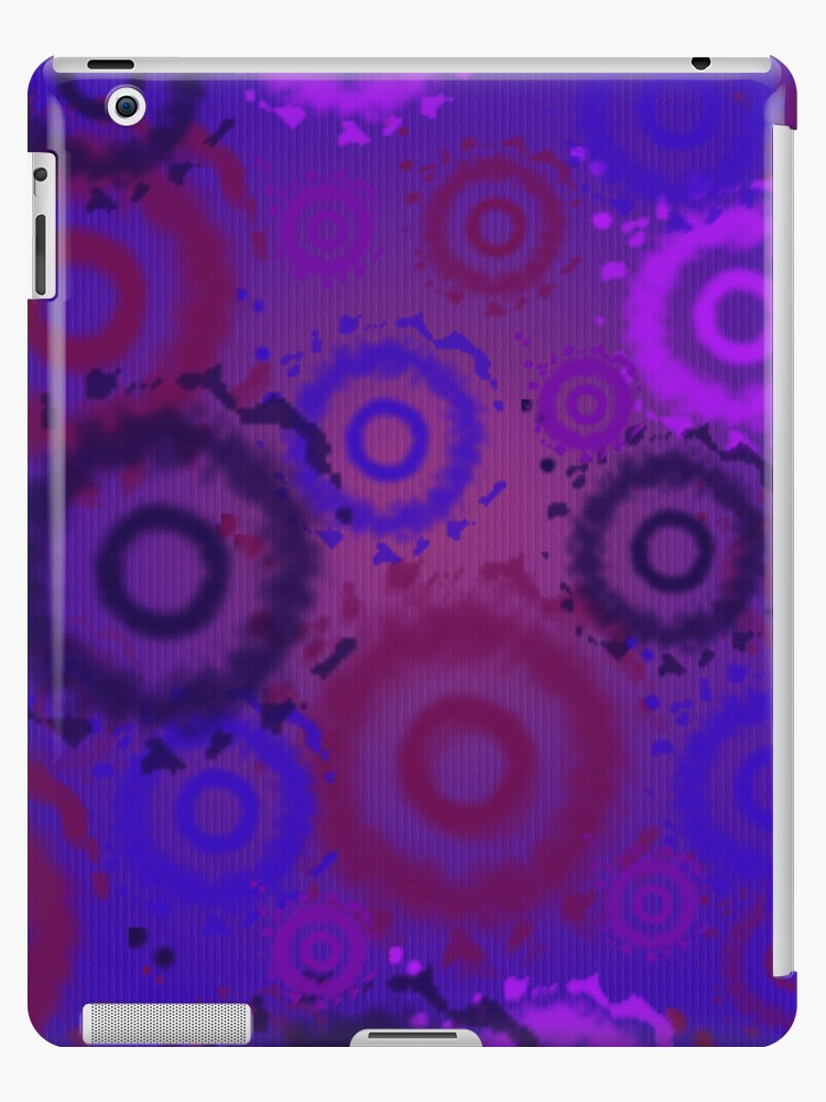 Deep Purple, Tie Dyed Circles iPad Case by CheriesArt
