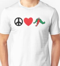 """Cinco de Mayo """"Peace Love Hot Chile Peppers"""" Unisex T-Shirt"""