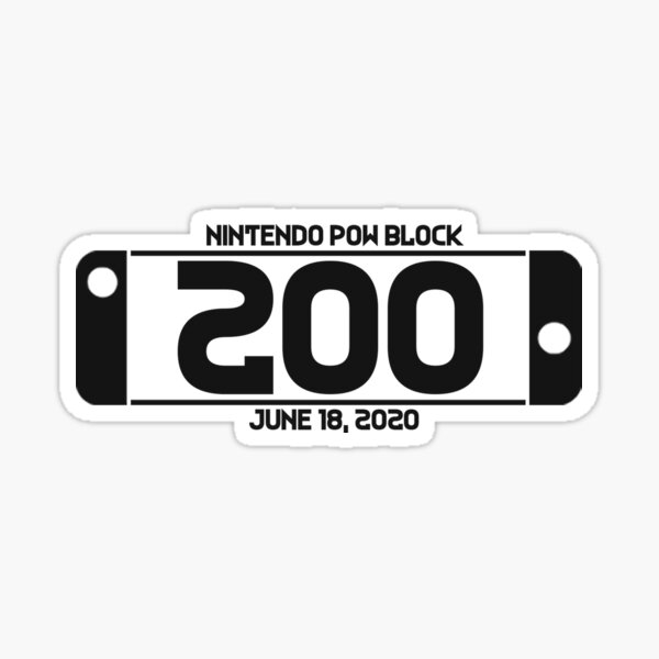 Nintendo Pow Block Episode 200 Charcoal Sticker