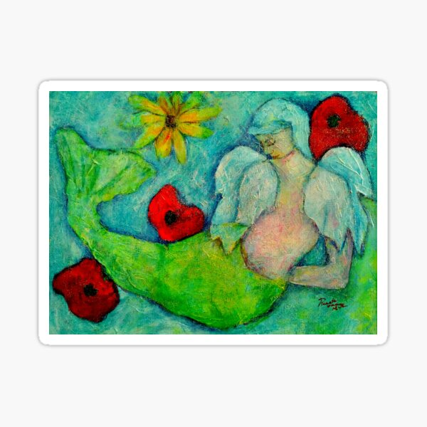 Marnie, Angel image part of an Angel oracle card deck – MeMoment angel cards Sticker