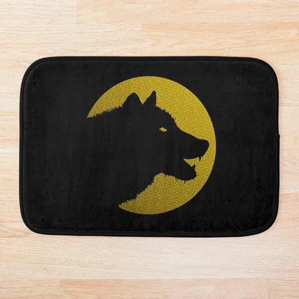 Einsamer Wolf/Hund Logo auf Farbe Badematte