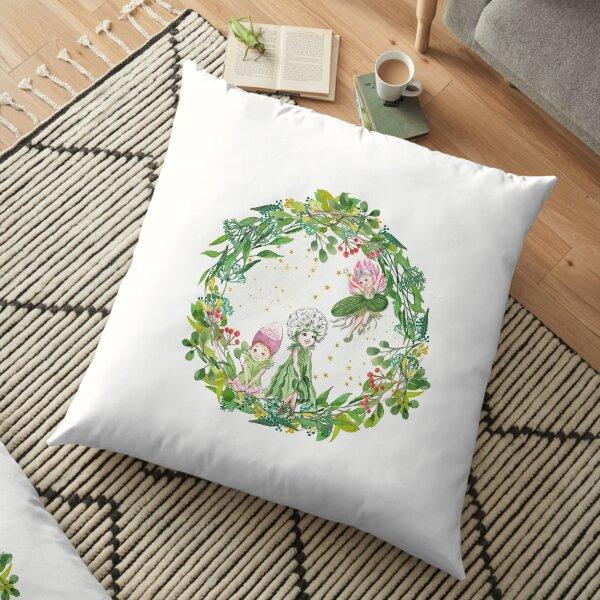 Three Garden Fairies in Wreath Floor Pillow