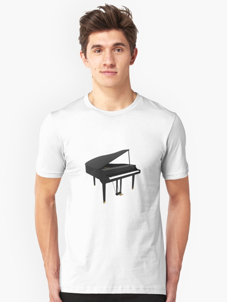 Grand Piano: Black Finish Unisex T-Shirt Front