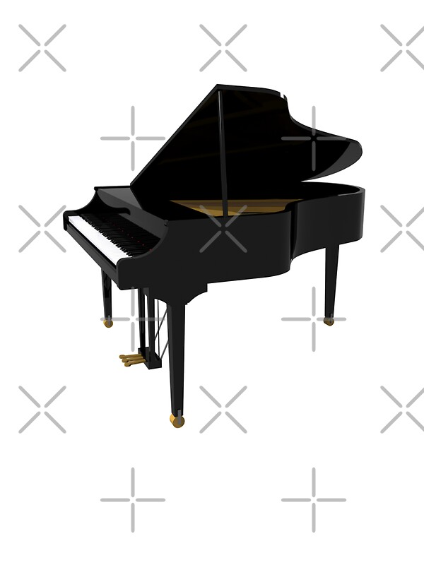 Grand piano black finish stickers by bradyarnold for Small grand piano size