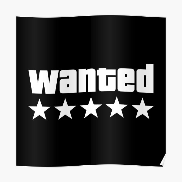 WANTED - Grand Theft Auto V - Blanco Póster