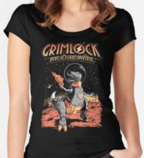 Space Pulp Robot Dinosaur Hero Women's Fitted Scoop T-Shirt