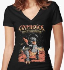Space Pulp Robot Dinosaur Hero Women's Fitted V-Neck T-Shirt