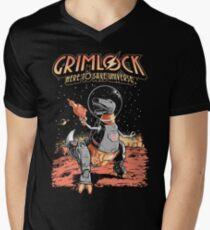 Space Pulp Robot Dinosaur Hero Men's V-Neck T-Shirt
